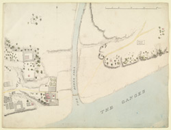 Map of the confluence of the Barna and Ganges rivers with temples and the old fort on the left and brick kiln on the right, Benares